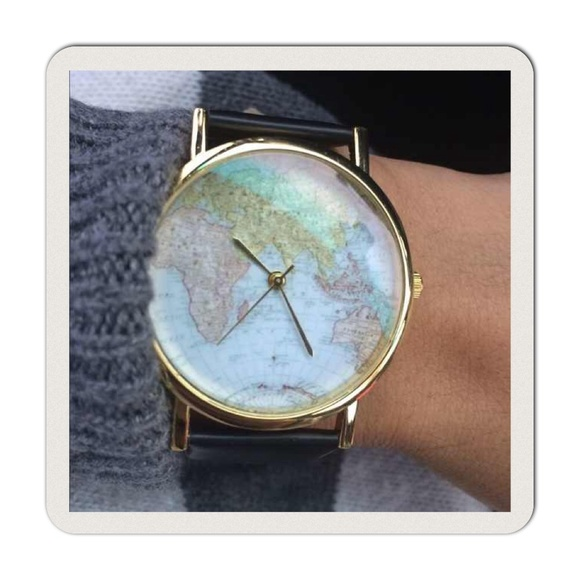Black World Map Watch Sale Trendy Black World Map