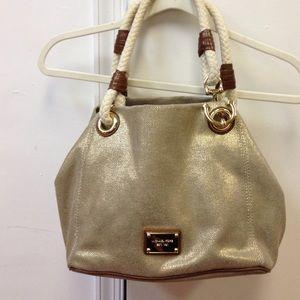 6564cca7f5a0 Adorable Michael Kors gold burlap summer purse ...