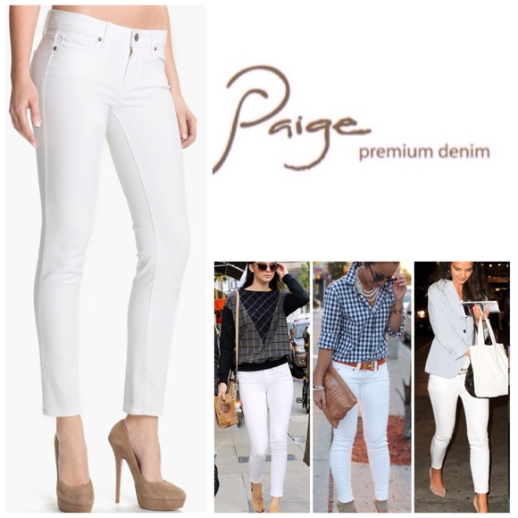 64% off Paige Jeans Denim - Paige White Skyline Ankle Peg Skinny ...