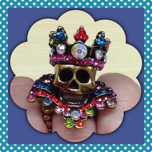 Jewelry - 🎄New Multi Color Crystals Skull Fashion Ring.