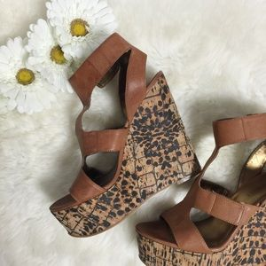 Nine West Shoes - Nine West Leopard Cognac Wedges