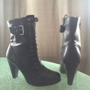 Black Lace up Booties
