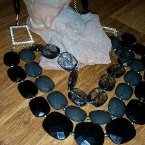 Gorgeous Black, gray necklace NWOT