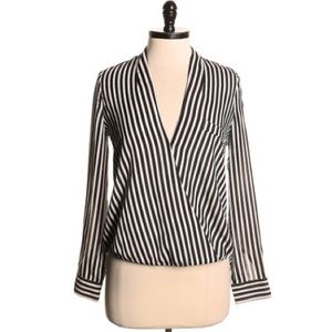 Anthropologie aryn k striped crossover top