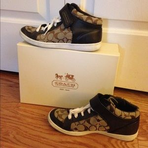 Coach brown high top sneakers