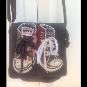 Funky sneakers flap bag