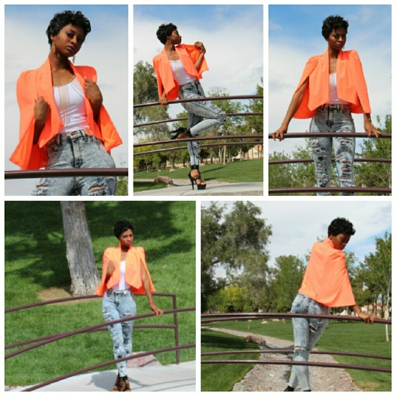 a79220b9521b Boutique Jackets & Coats | Sold Spring Time Orange Cape Blazer ...