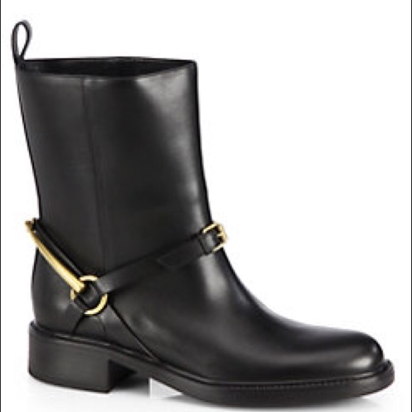 0263f463fb8 Gucci black Tess Leather Horse bit Ankle Boots NWT