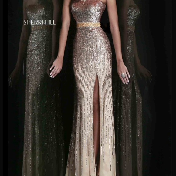 20d7ac4afb8 Sherri Hill Gold Prom Dress Size 0