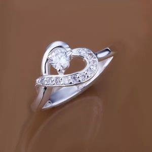 Heart sterling silver plated ring