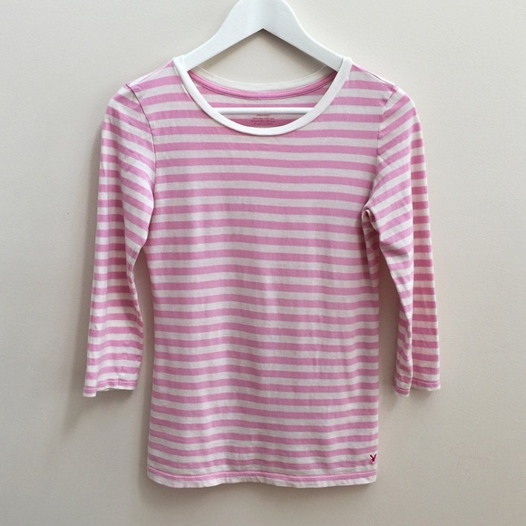 American Eagle Outfitters Ae Pink Striped Three
