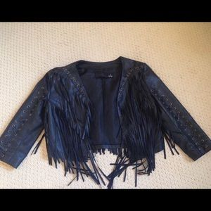 H&M size 4 black leather fringe jacket short