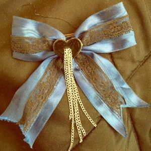 Big blue and black lace bow