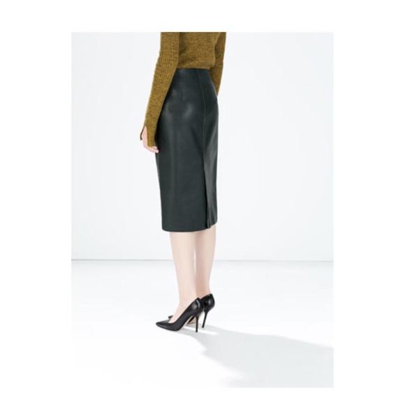 44 zara dresses skirts fax leather pencil skirt