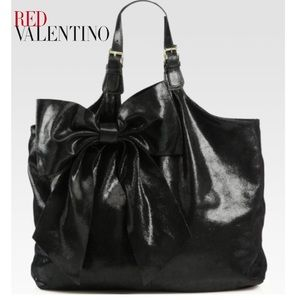 RED Valentino Black Large Bow Hobo Bag