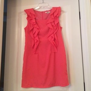 Ya Brand Coral Dress with Ruffle