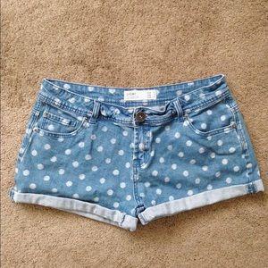 Denim - White Polka Dotted Denim Shorts