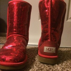 UGG Shoes | Red Sparkly Sequin Uggs