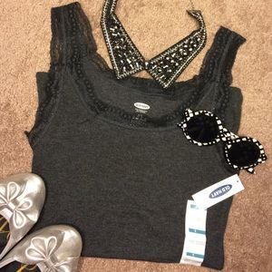 Old Navy Tops - Charcoal grey lace trimmed camisole top