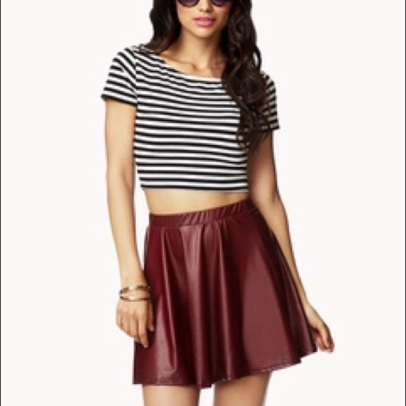 Forever 21 - Dark Maroon Leather Skirt from Calista's closet on ...