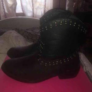 All black studded ankle boots
