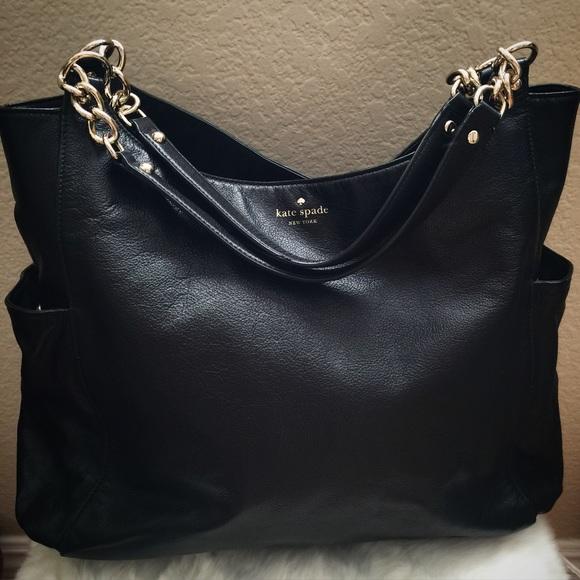 68% off kate spade Handbags - LARGE Kate Spade Black Leather Chain ...