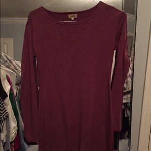 Heather burgundy long sleeved dress