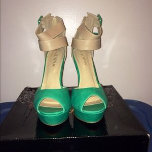 Shoes - ✂️Sea Green and Beige Belted Color-Block Wedges✂️