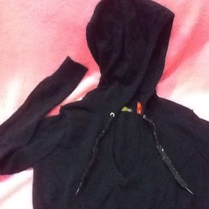 H & M Cropped Black Knit Hoodie Sweater/Low V-Neck