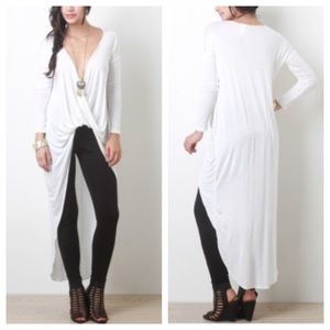 White Plunge Scooped Jersey Maxi Top