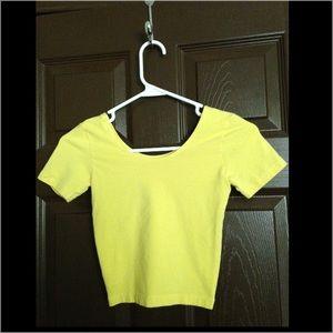 American apparel yellow baby crop tee