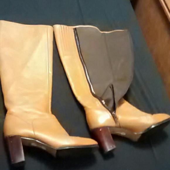 87 boots sz 8 caramel knee high leather heeled