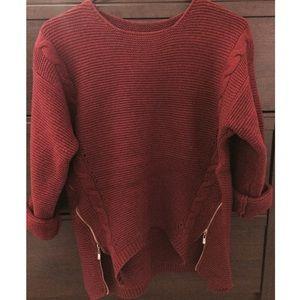Sweaters - NWOT Side Zip Burgundy Sweater