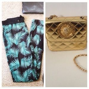 Other - Bundle palm pants & gold purse