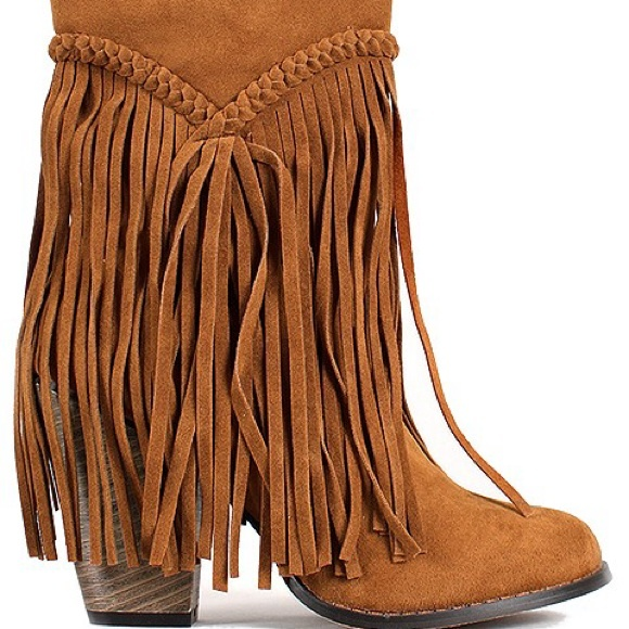 53% off Boots - High Heel Fringe Ankle Boots midcalf from The ...