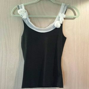 Tops - SOLD Black flower tank