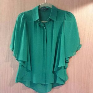 Maddy K Tops - SOLD Green billow sleeve top