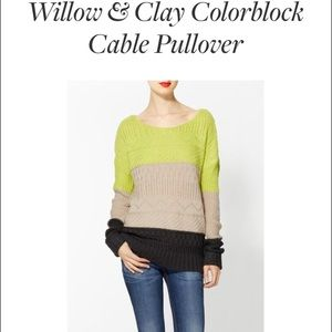 Willow and Clay Colorblock Cable Pullover