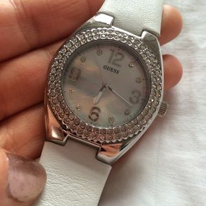 Rhinestone + white leather watch