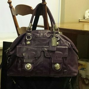 REDUCED Coach Purple Leather Sydney Dome Satchel