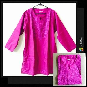 Dresses & Skirts - New | Fuchsia Embroidered Lucknow Tunic