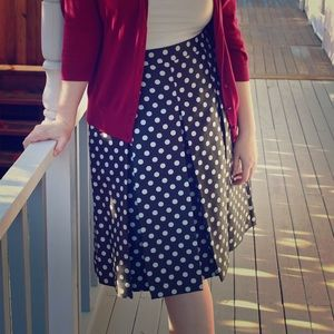 Halogen Dresses & Skirts - Polka Dot Pleat Midi Skirt