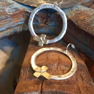 Silver Hoops with Gold Crosses