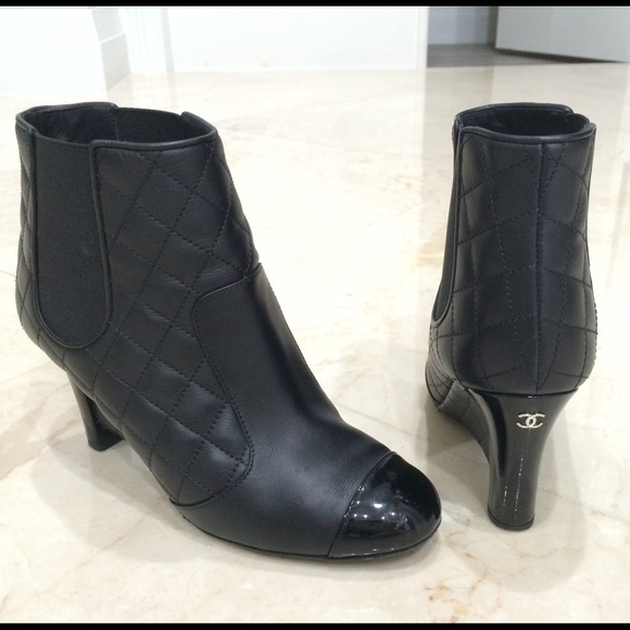 Chanel Shoes Sold On Ebay Black Quilted Booties 37 Poshmark