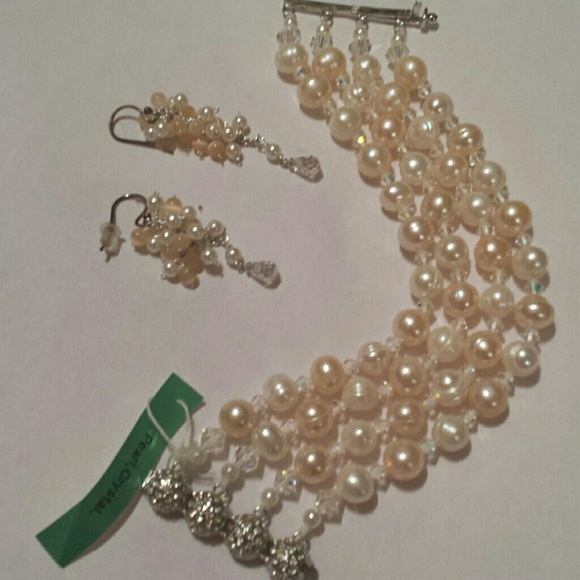 Swarovski Jewelry - Handcrafted pearl and crystal bracelet &earings