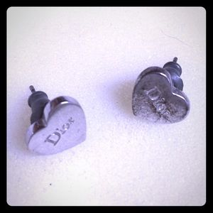 Christian Dior Silver Heart Shaped Earring Studs