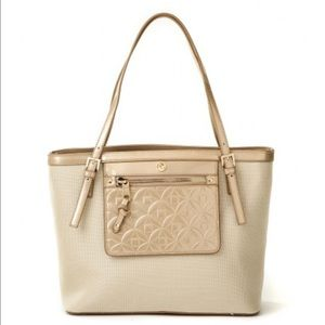 Spartina 449  Handbags - Linen and Leather Splendor Pocket Tote in Gold