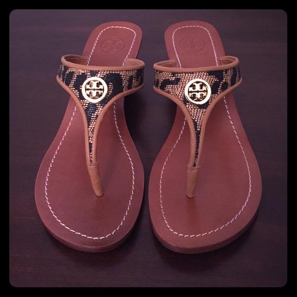 7e0c19d933285b Tory Burch Cameron Leopard thong wedge sandals