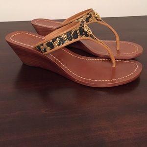 18eb3547c0c0ec Tory Burch Shoes - Tory Burch Cameron Leopard thong wedge sandals