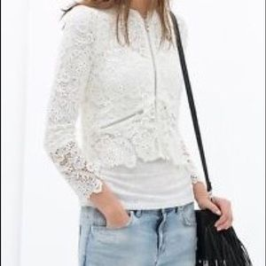 Zara  trafaluc white ecru lace top